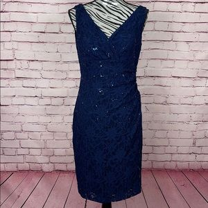 LAUREN Ralph Lauren Blue Lace & Sequin Dress Sz 8